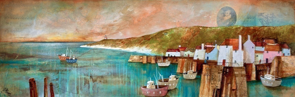 Harbour Sunset Panorama by Keith Athay -  sized 47x16 inches. Available from Whitewall Galleries